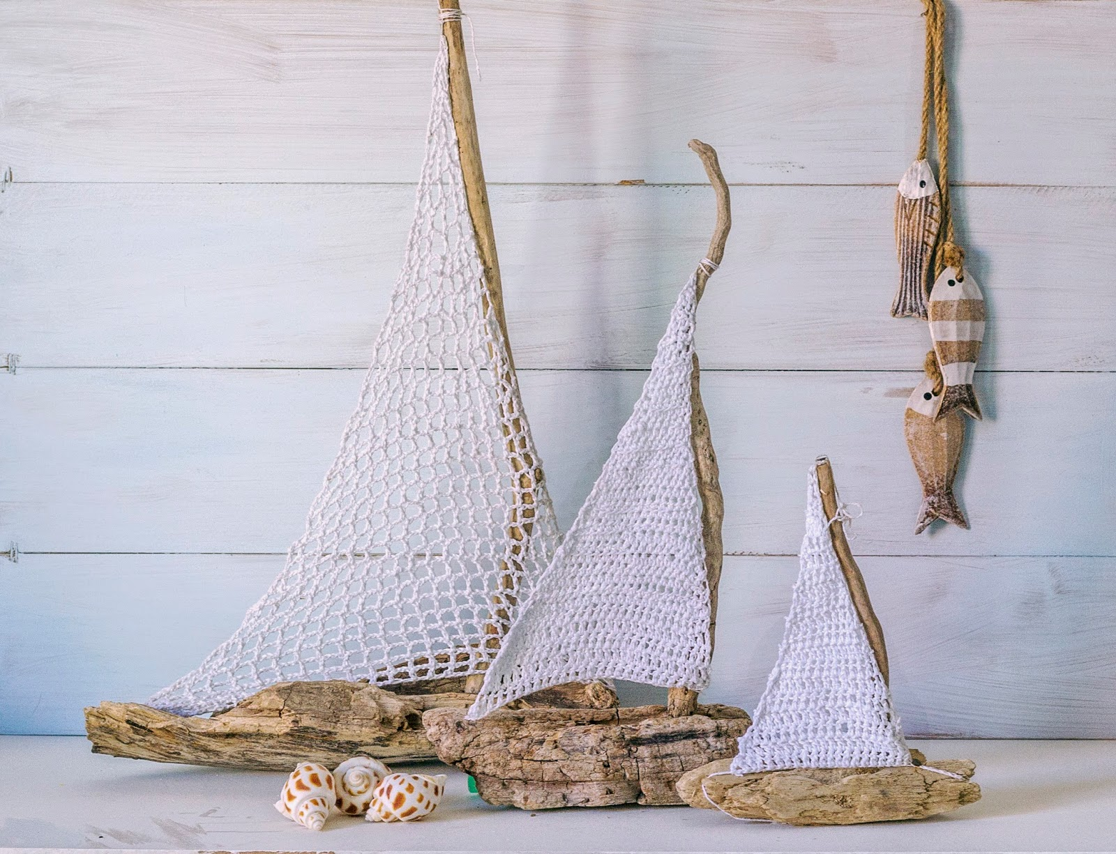 Vicky\'s Home: DIY Barcos con madera a la deriva y crochet ...