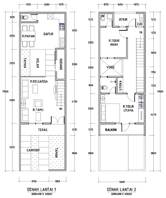 Desain denah rumah minimalis 2 lantai