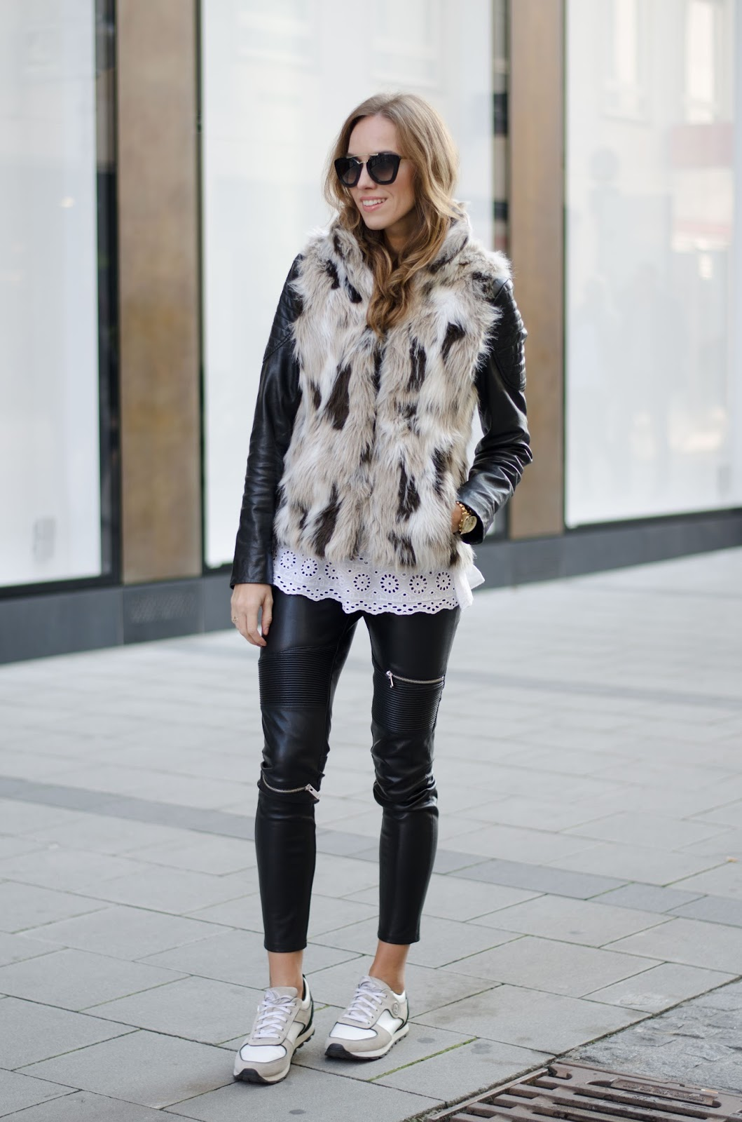 kristjaana mere fur jacket leather pants causal fall outfit