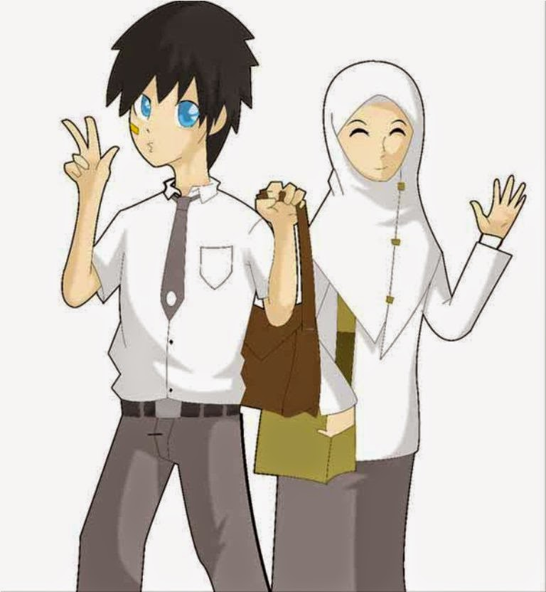 Gambar kartun muslim lucu couple