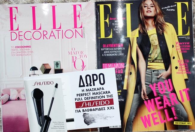 "Elle + Sheseido ""Perfect mascara full definition"""