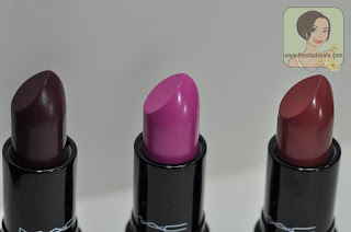 MAC Lipsticks in Dramatic Encounter, Outrageously Fun, Glamourdaze