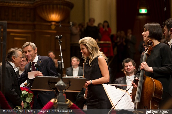 Latvian conductor Mariss Jansons meets Queen Maxima of The Netherlands after his final concert with the Royal Concertgebouw Orchestra