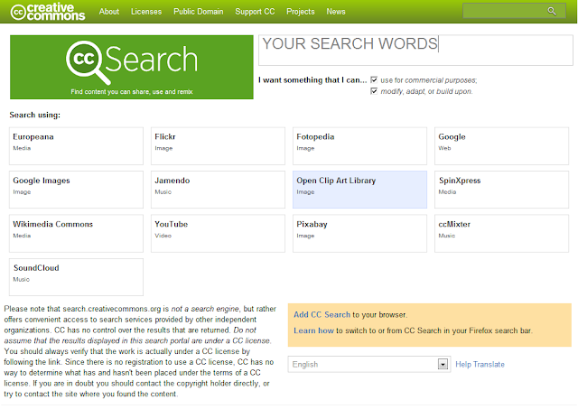 screen where you can enter creative commons search parameter values