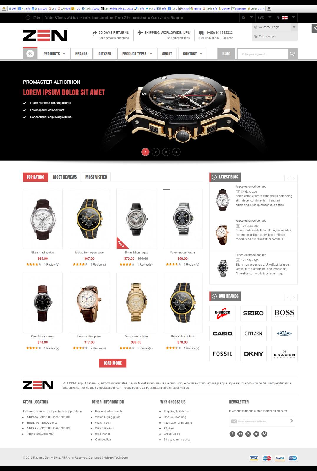 thiết kế web bán đồng hồ chuyên nghiệp