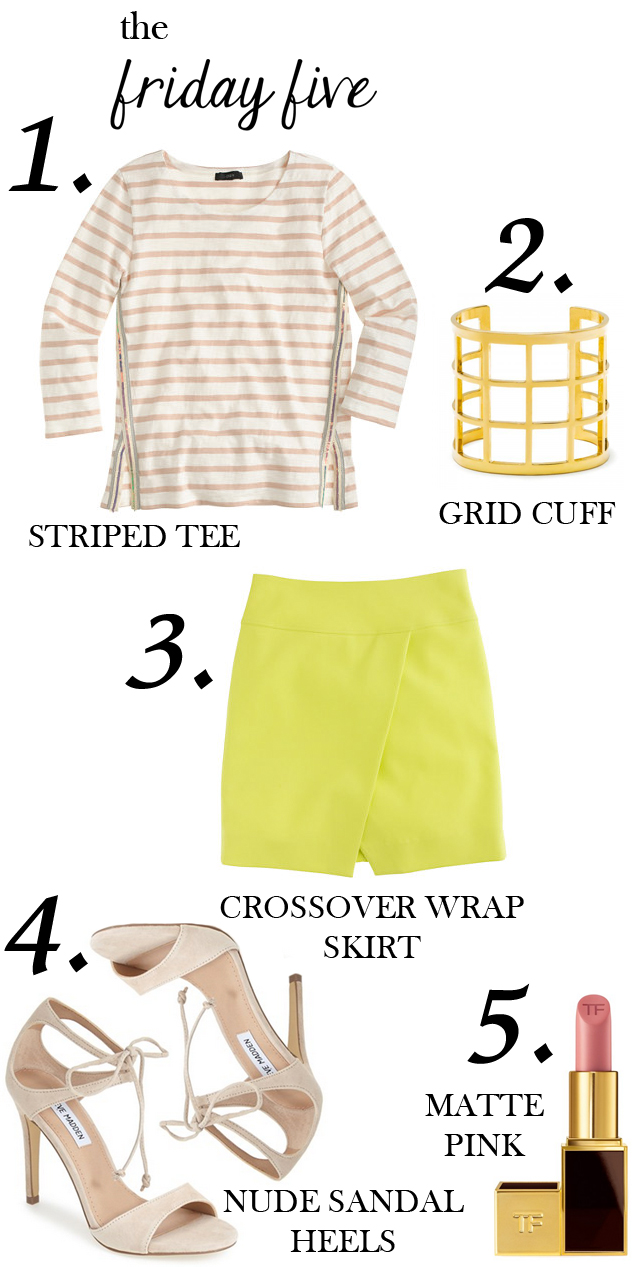 the friday five with striped tee, crossover wrap skirt, nude sandal heels, matte pink tom ford lipstick and bauble bar grid cuff M Loves M @marmar
