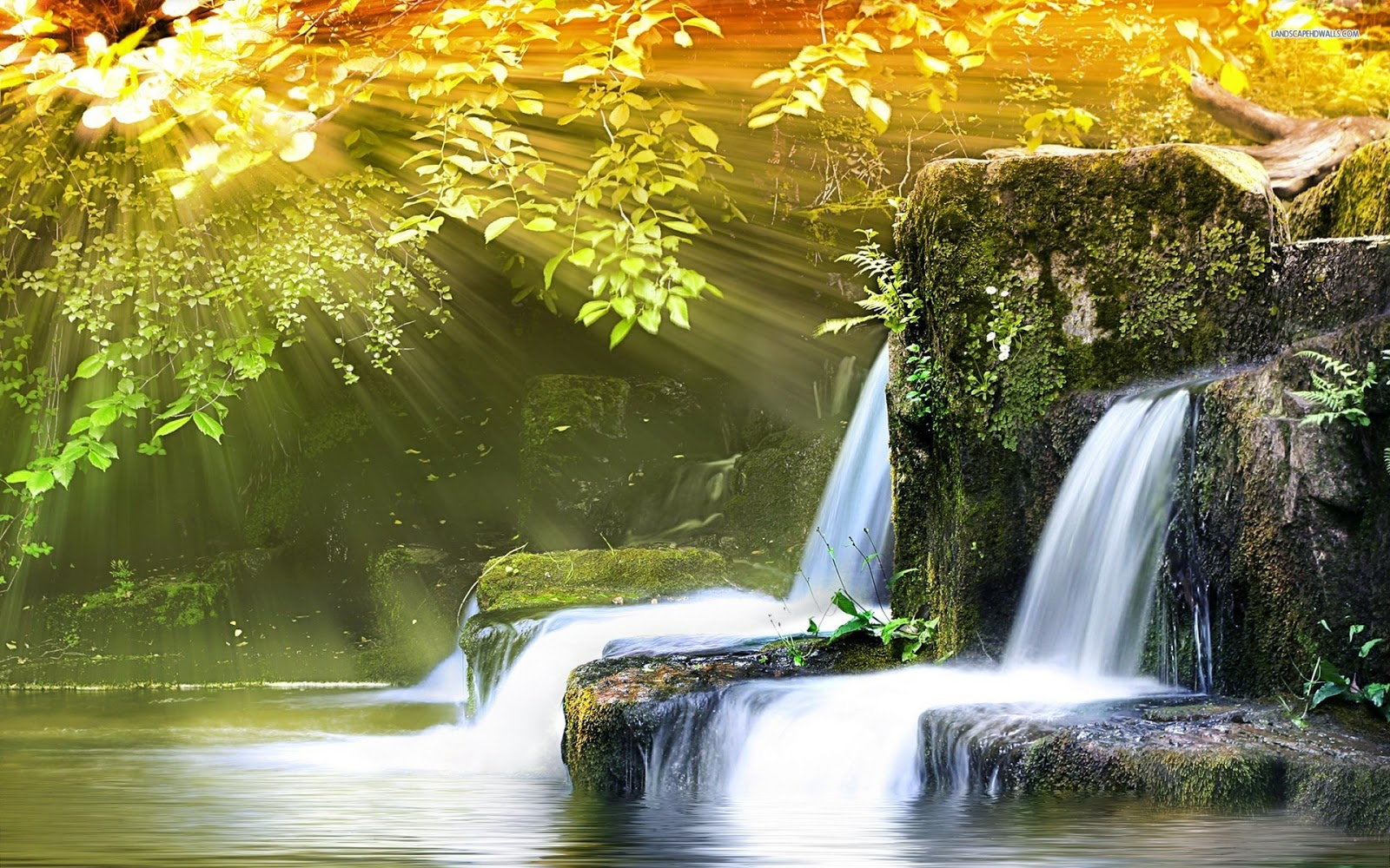 Gambar Lukisan Air Terjun Indah Wallpaper Pemandangan Alam Cantik