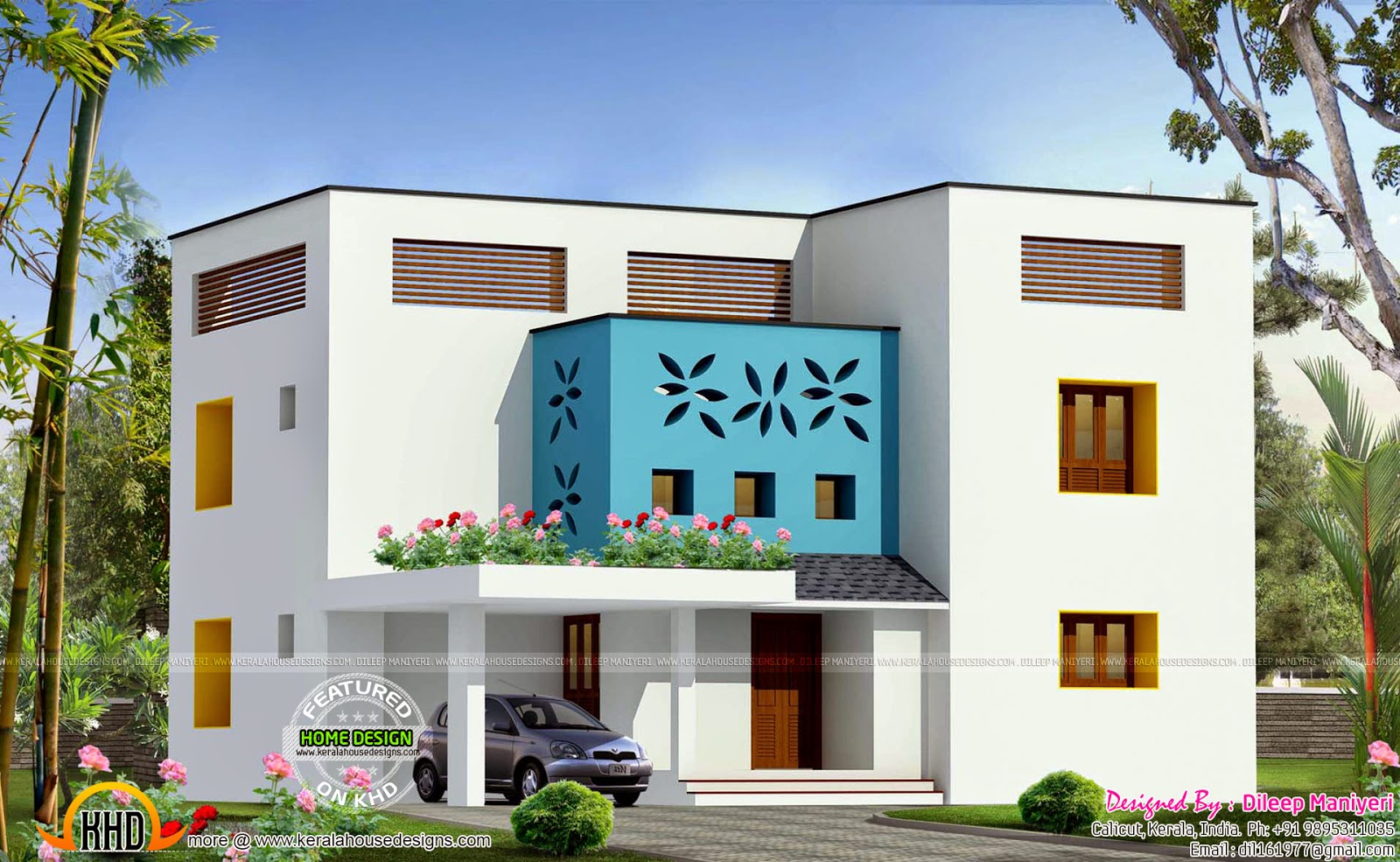 223 sq m contemporary villa exterior keralahousedesigns for Flat exterior design