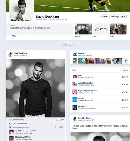 david beckham facebook pages