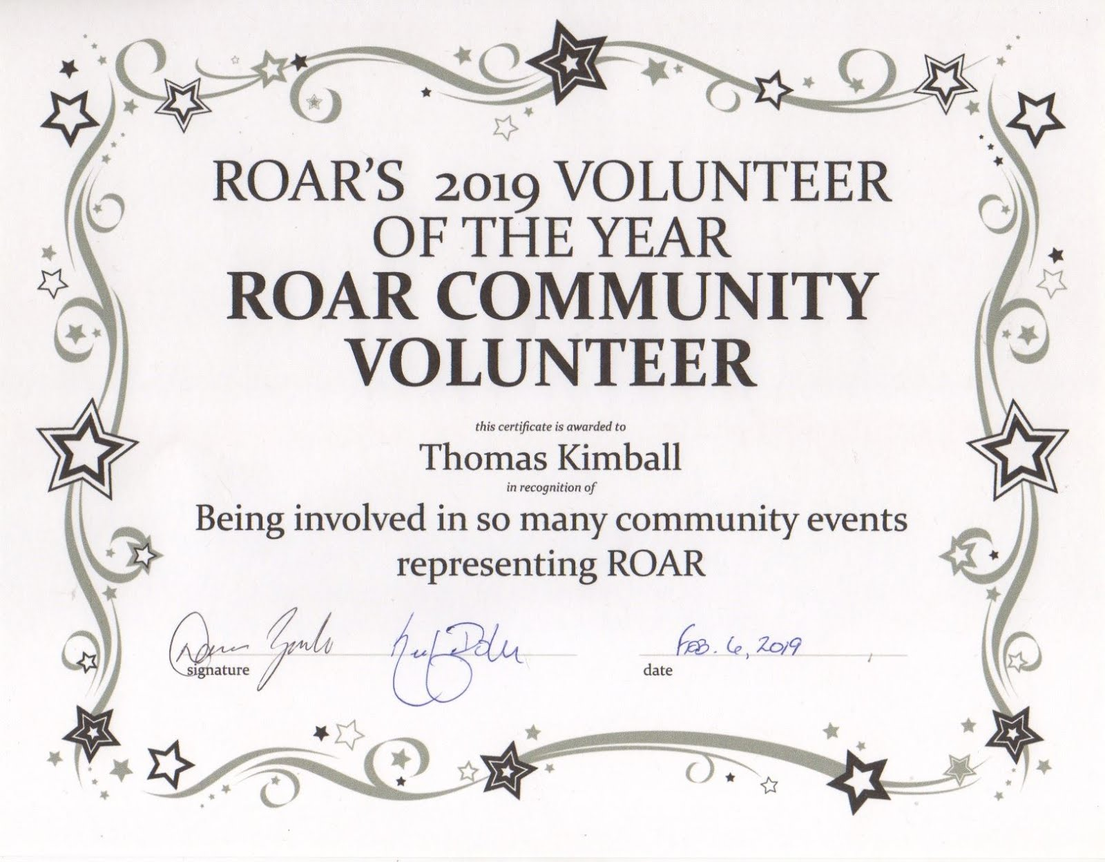 Thomas Q Kimball presented with ROAR's 2019 Volunteer of the year ROAR Community Volunteer