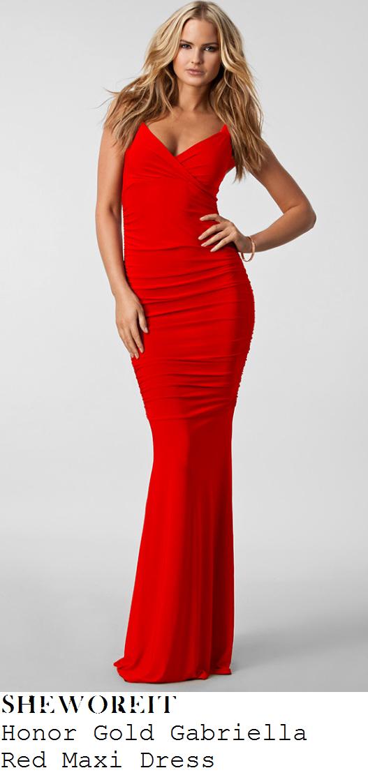 gemma-atkinson-red-sleeveless-ruched-fishtail-hem-maxi-dress