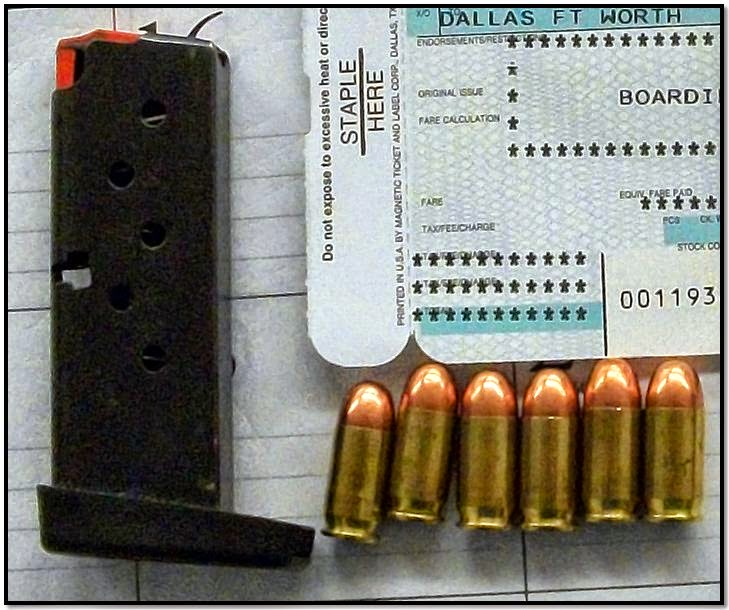 After alarming advanced imaging technology, a Jacksonville (JAX) traveler divested a magazine with six rounds of 9mm ammunition from his pants pocket.
