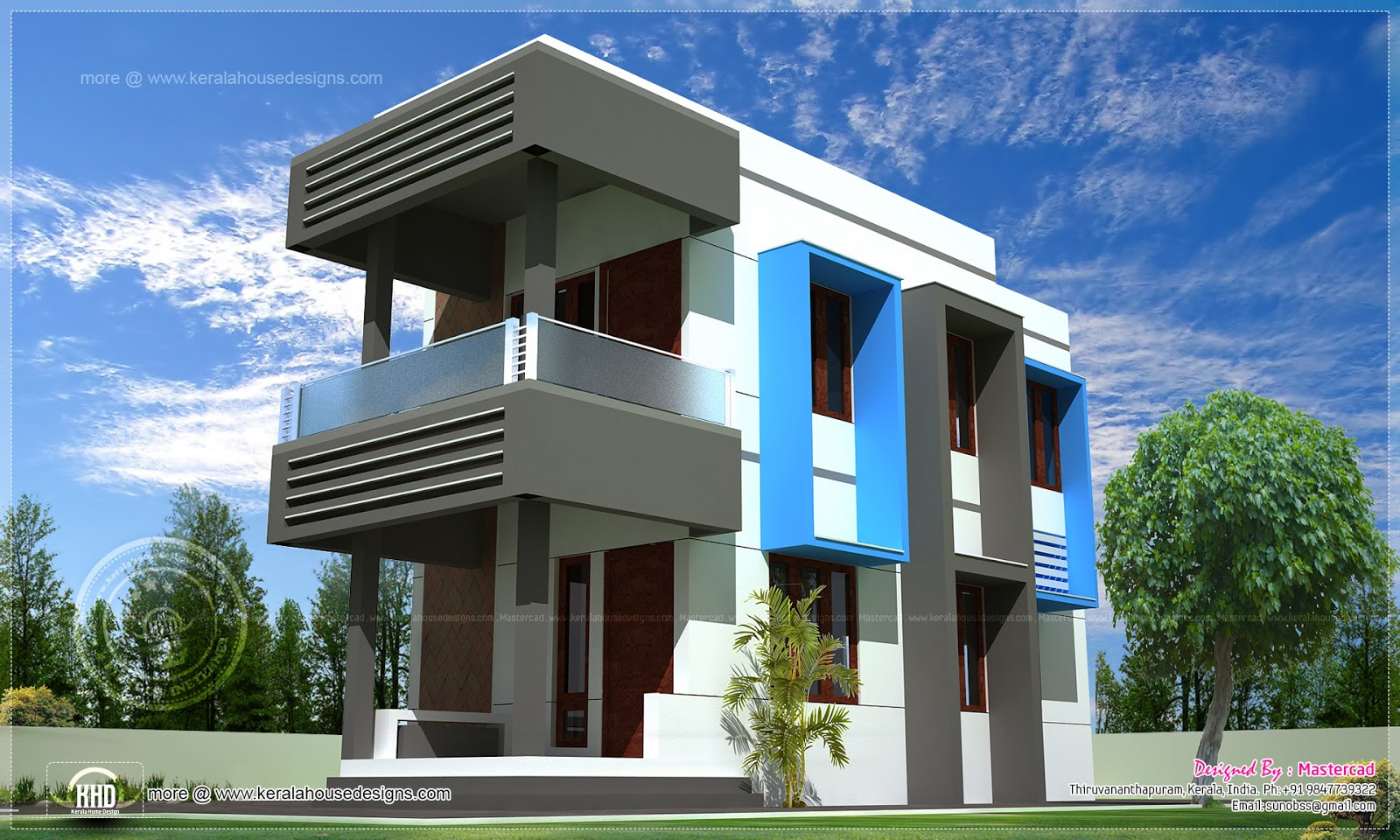 Contemporary compact villa design home kerala plans for Contemporary villa plans