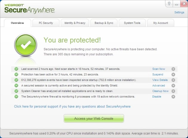Webroot SecureAnywhere Complete 2013 Interface