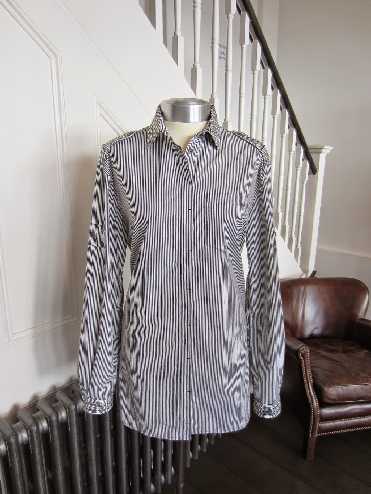 Pierre Balmain Grey & White Striped Shirt with Silver Studded Collar & Cuffs