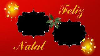 Moldura red 2 fotos estrelas e azevinho Feliz Natal png
