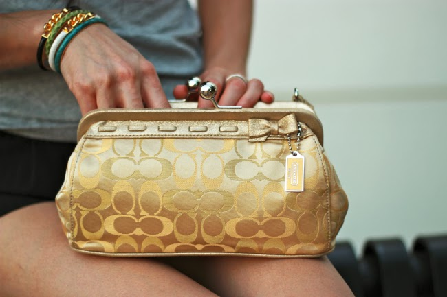 coach kyoto gold kisslock purse