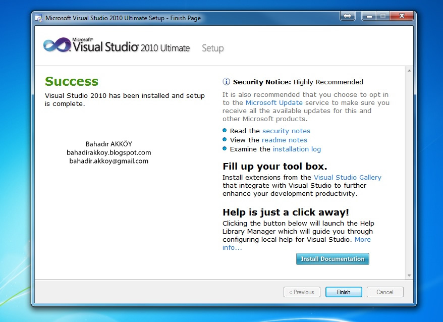 Activate Visual Studio 2010 Ultimate