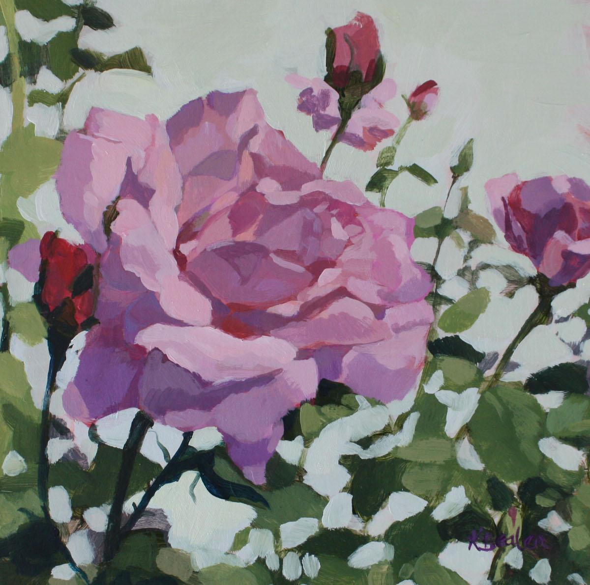Kaethe Bealer Painting Pink Garden Rose