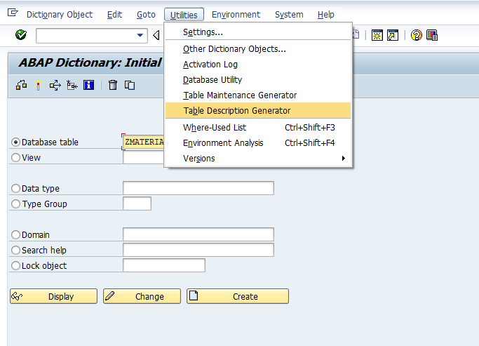 What is table description generator sap abap for Table description