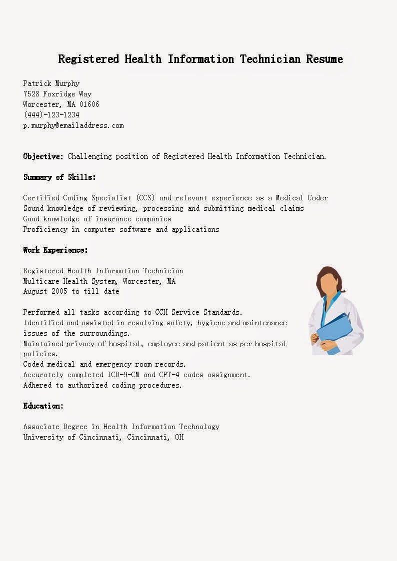 resume samples  registered health information technician