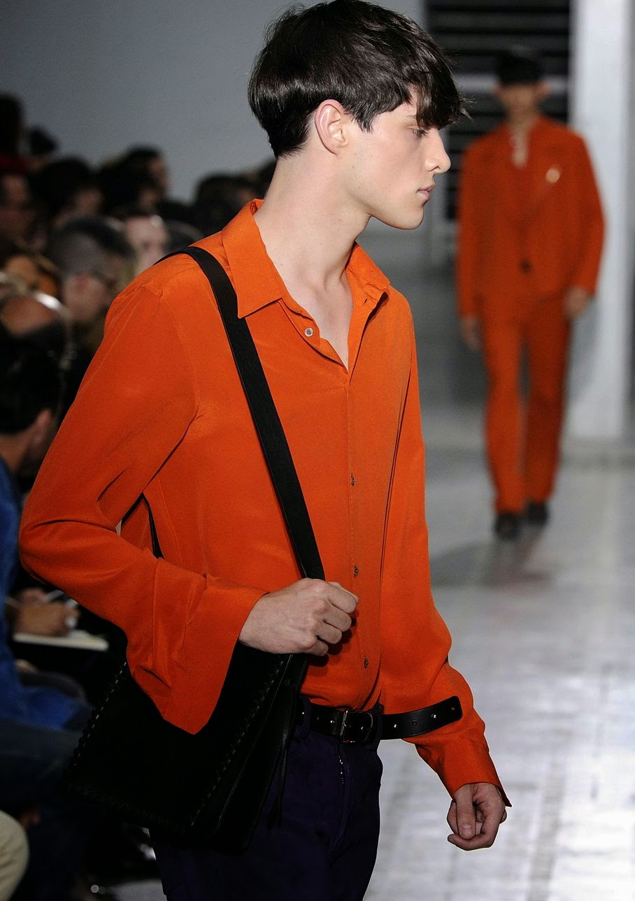 A model wears a creation for Costume National men's Spring-Summer 2015 collection, part of the Milan Fashion Week, unveiled in Milan, Italy, Saturday, June 21, 2014.