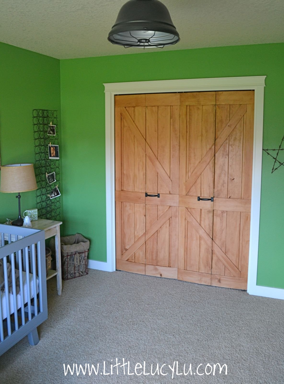 someday crafts bi fold doors into barn doors. Black Bedroom Furniture Sets. Home Design Ideas