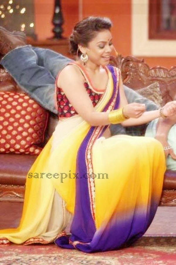 Sumona Chakravarti in saree at Comedy nights with Kapil show ...