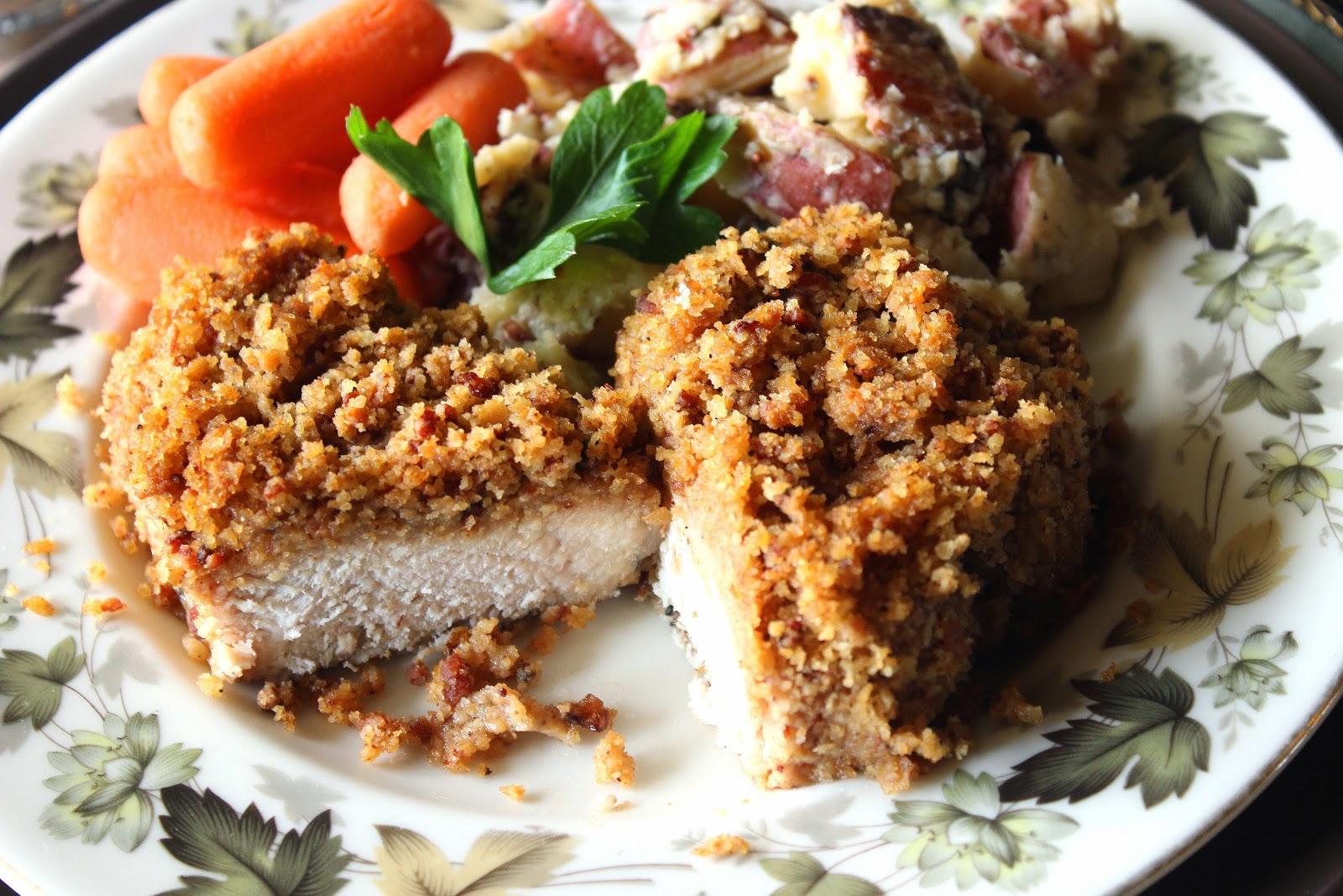 Bacon and Pretzel Cracker Coated Pork Chops / Kudos Kitchen by Renee