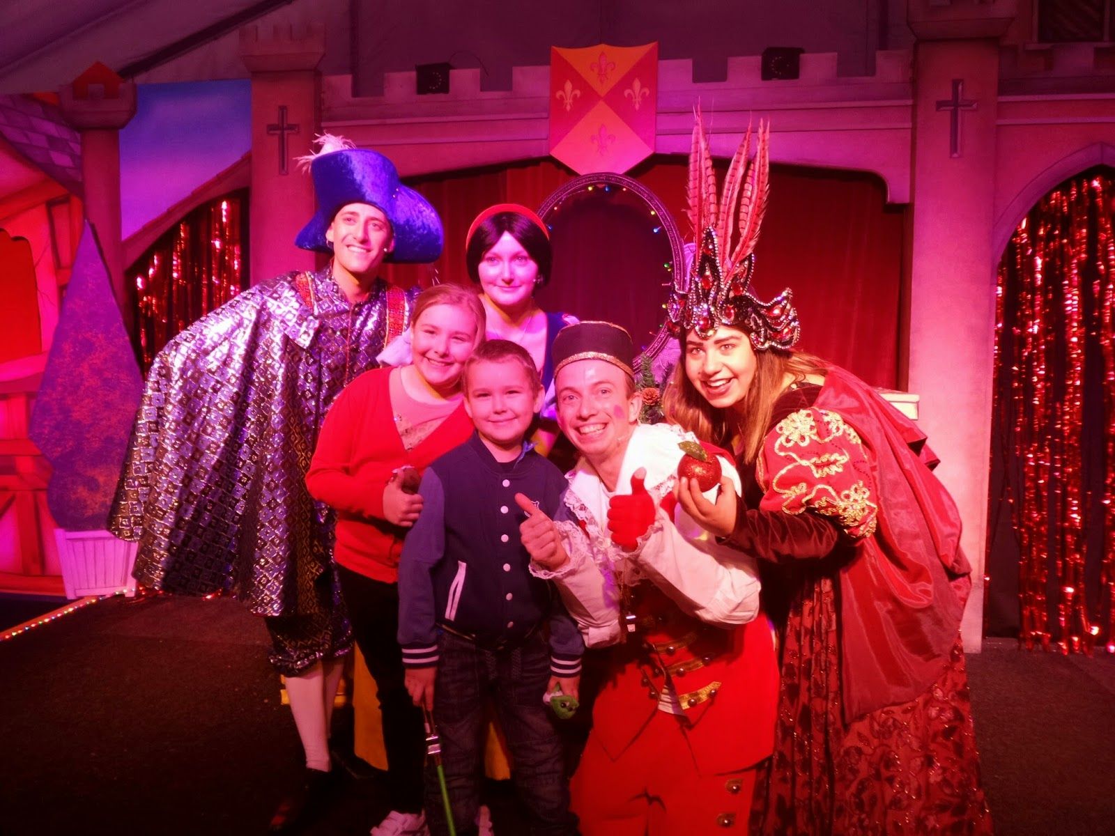 Top Ender and Big Boy with the stars of the Cadbury World Panto