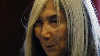 La viuda de Borges, durante la entrevista