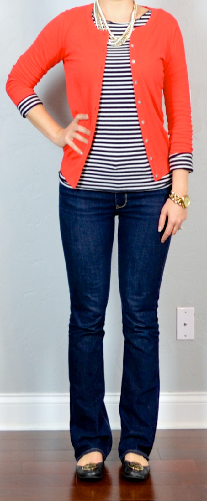 Outfit post red cardigan striped shirt bootcut jeans black flats | Outfit Posts