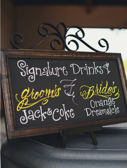Bride & Groom signature drinks served at the reception