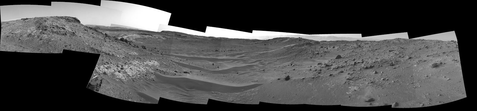 "This April 10, 2015, view from the Navigation Camera on NASA's Curiosity Mars rover shows the terrain ahead of the rover as it makes its way westward through a valley called ""Artist's Drive."" Image Credit: NASA/JPL-Caltech"