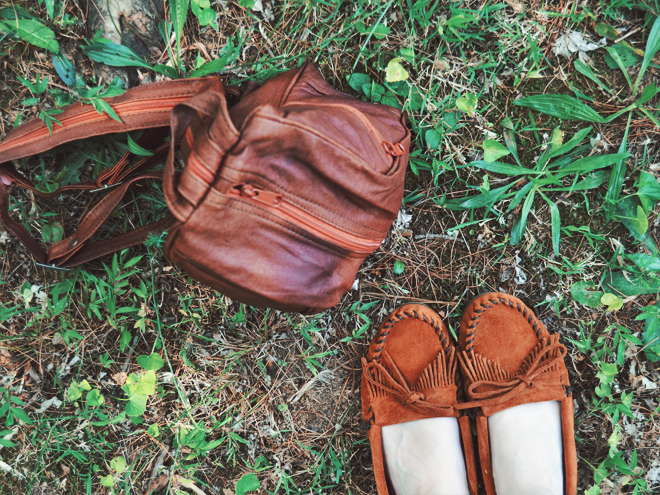 The Flying Clubhouse: The Woods at the Edge of the Meadow // Minnetonka Kilty Suede Moccasins