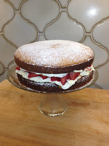Victoria Sandwich with Fresh Mint and Strawberries