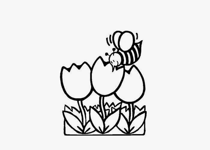 Busy Bee Tulips Coloring Page