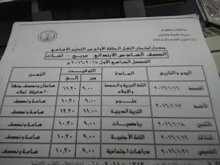 جداول امتحانات الدقهلية ترم أول 2016 تفصيلية المنهاج المصري 6.jpg
