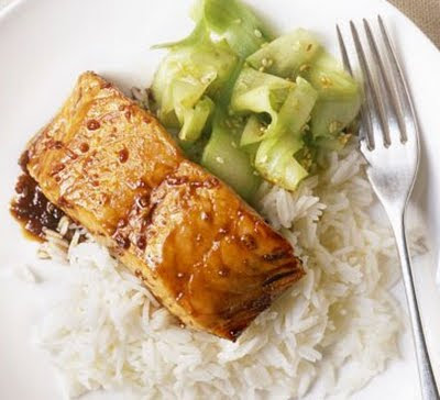 Grilled salmon teriyaki with cucumber salad recipe