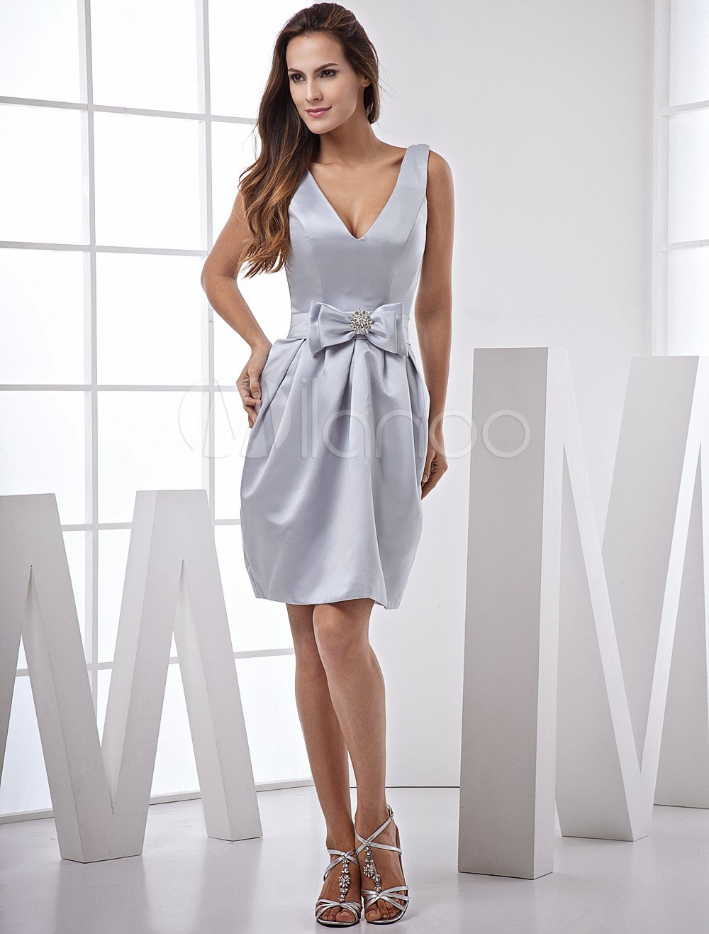China Wholesale Dresses - Silver V-Neck Knee Length Bow Waist Satin Bridesmaid Dresses