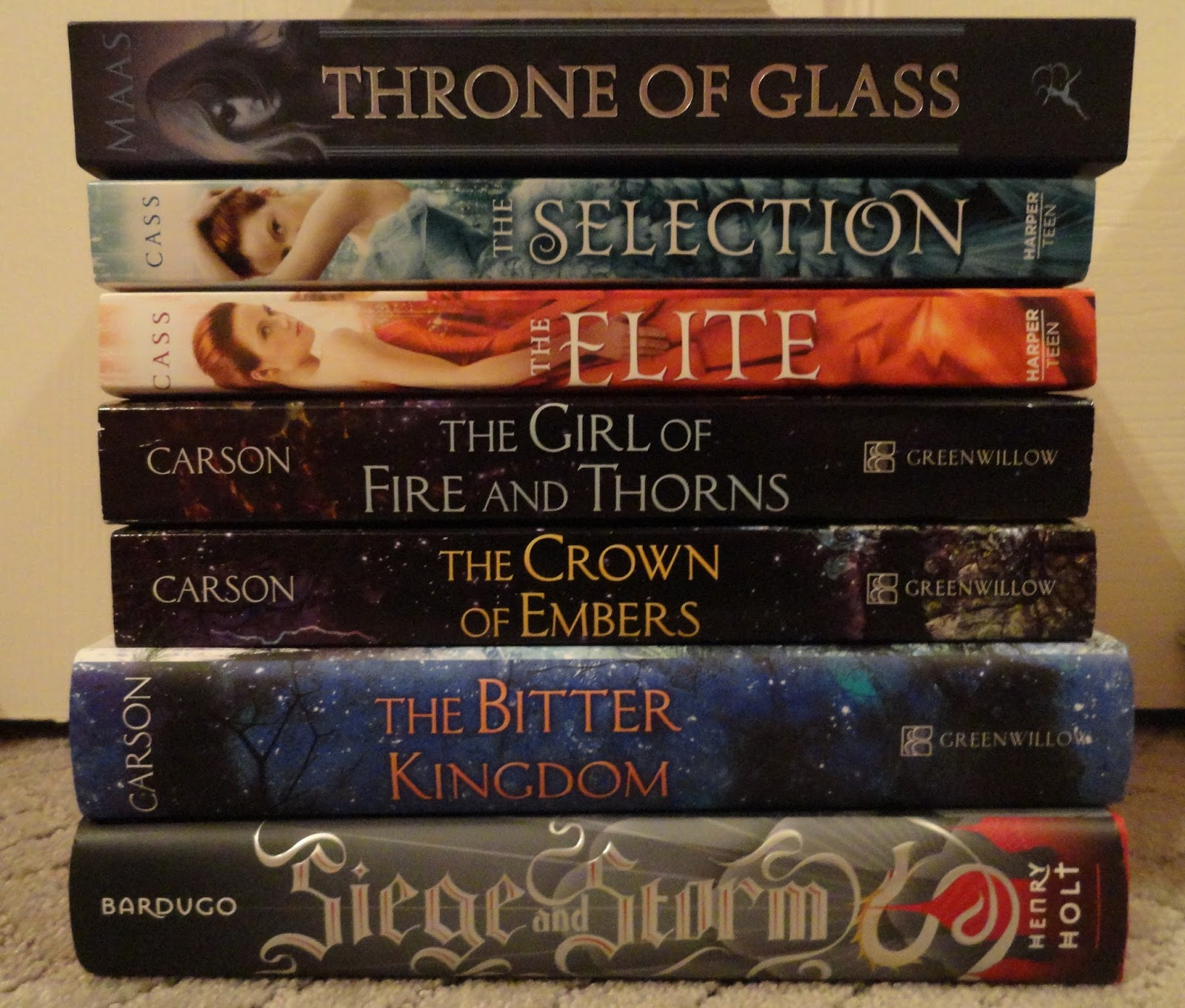 Throne Of Glass By Sarah J Maas The Selection By Kiera Cass The Elite (the  Selection #2) By Kiera Cass The Girl Of Fire And Thorns By Rae Carson