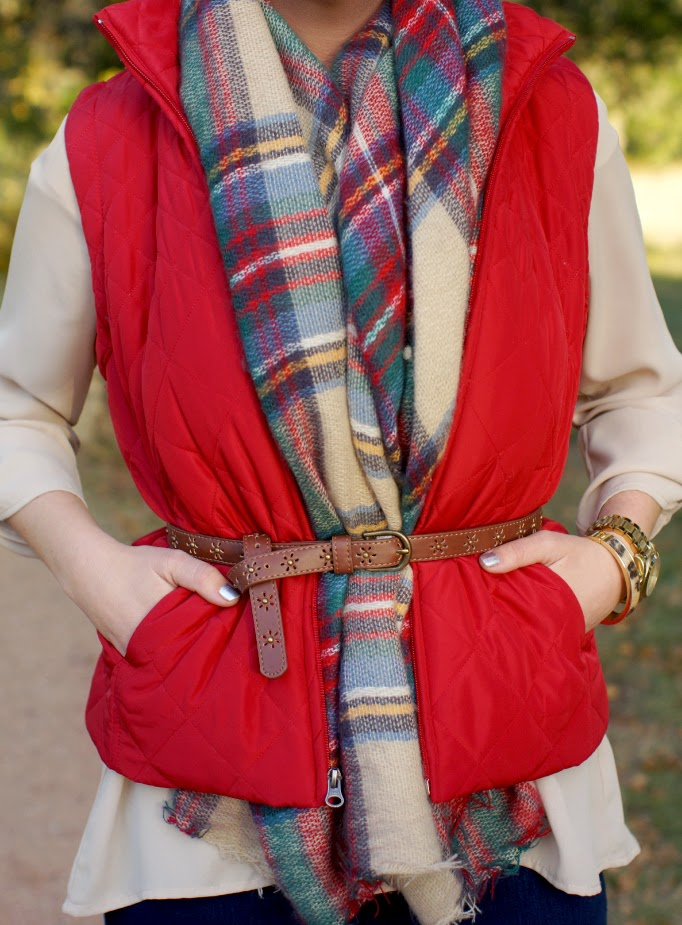 oversized plaid blanket scarf belted with a quilited vest