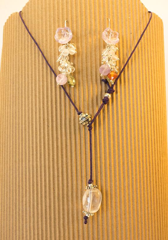 collana e orecchini cristallo di rocca e argento