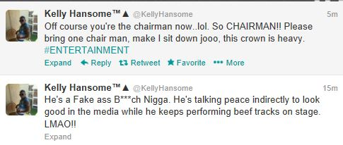 "Kelly Hansome puts MI on blast..calls him ""F**king retarded black Pygmy"""