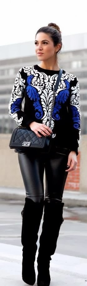 Black Sweater With Leather Leging