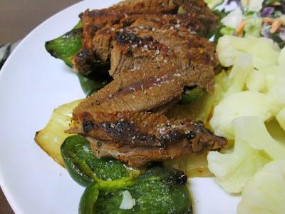 seared steak with roasted poblanos and onions