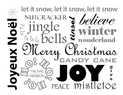 Christmas Words Free Printable for framing