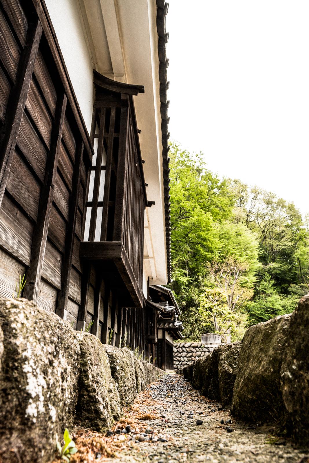 掘りと古い木の塀の写真
