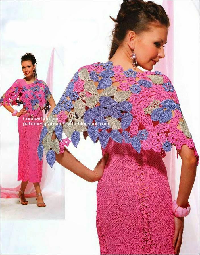 Maravilloso chal / capa crochet irlandés / patrones | Crochet y Dos ...