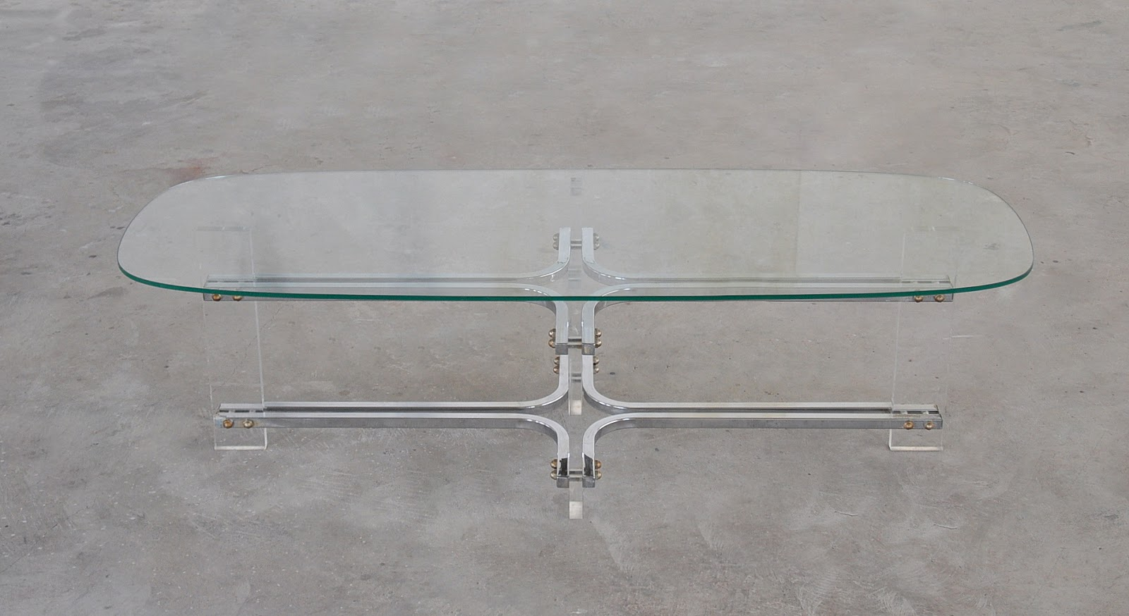 Mid Century Modern Chrome Lucite Glass Surfboard Coffee Table